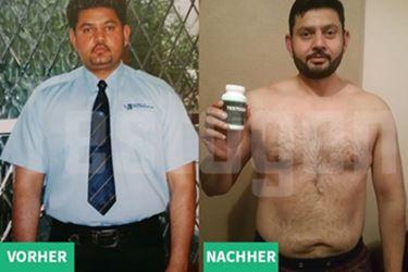 Übergewichtig ohne Testogen und schlanker mit