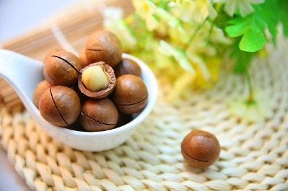 Macadamia Nüsse mit Schale in einer Schüssel